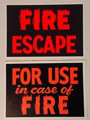 Vintage Plastic Fire Escape Signs Hardware Store Business Sign 7 X 10 Nos