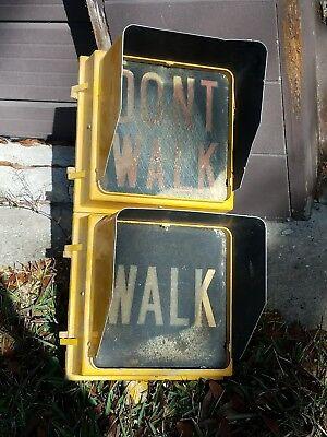 Large Metal Walk Dont Walk Sign Light Street Lamp