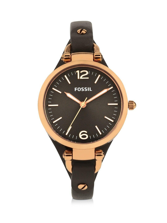 Neu Fossil ES3077 Georgia Gaue Ziffern Leder Damen Armbanduhr