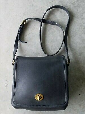 "AUTHENTIC VTG COACH #9076 BLACK LEATHER ""COMPANION"" CROSSBODY SHOULDER BAG"