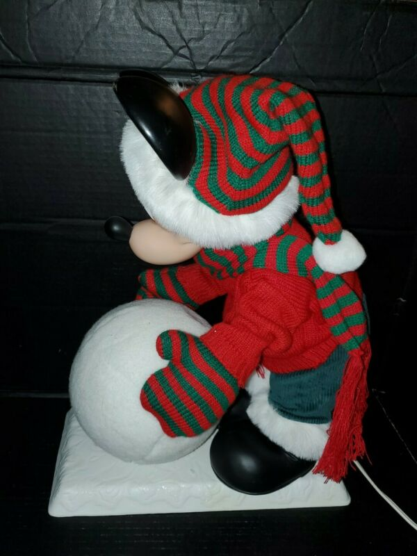 """Disney 19"""" Santa's Best Animated Mickey Mouse Rolling Snowball Pre-owned"""