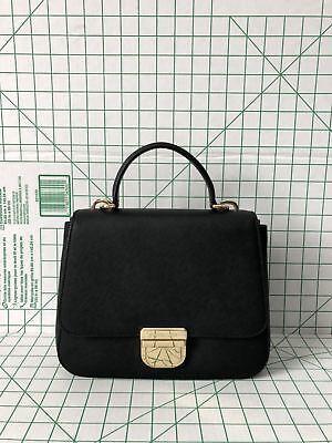 NWT Michael Kors Bridgette Medium Black Top Handle Saffiano Leather Satchel Bag