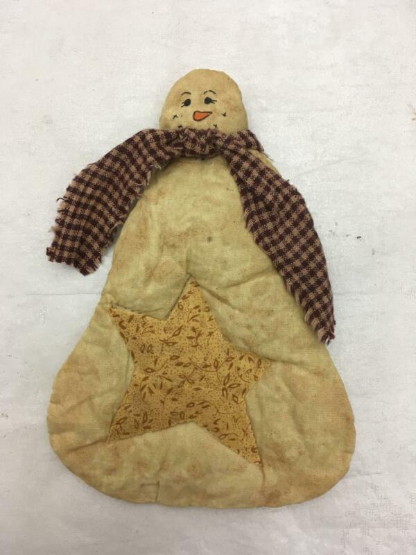 """Adorable Primitive Style Cloth Snowman  OLD QUILT 6.5"""" Tall"""