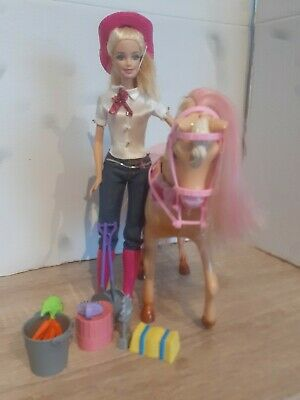 Barbie Pink Cowgirl Horse Playset With Doll And Accessories bundle