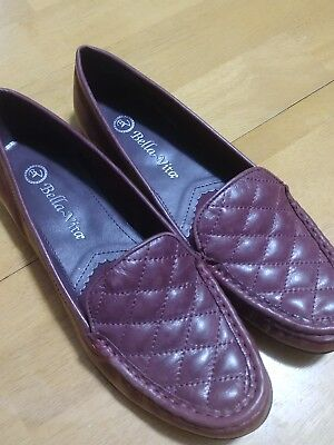 Bella Vita Mercedes Women Slip On Red Leather Shoes Loafer 7N BRAND NEW NOS