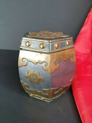 Old Chinese Pewter and Brass Tea Container / Caddy …beautiful collection & displ