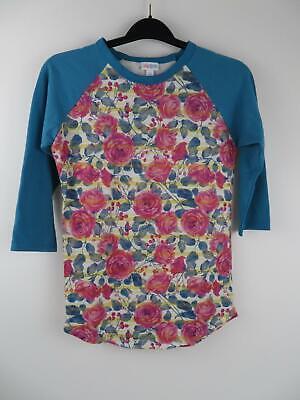 Lularoe Womens Rose Floral Randy Shirt Top XS Blue Pink Stripes Baseball Tee T