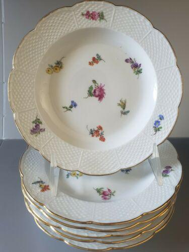 MEISSEN Porcelain SCATTERED FLOWERS Basket Weave BREAD BUTTER Plates 6.5  - $220.00