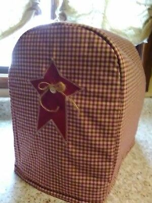 Kitchen Aid Cover Burgundy Homespun Rustic Star Americana Fabric Quilted Lined