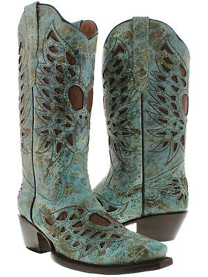 Womens Heart Wings Cowboy Boots Genuine Leather Snip Toe Rodeo Dress Turquoise (Turquoise Cowboy Boots)