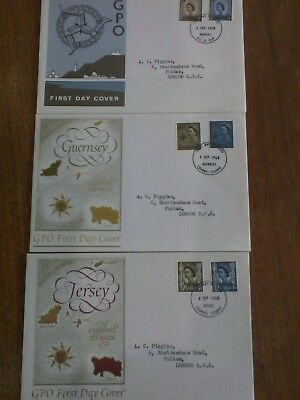 3 x 1968 First Day Cover. Jersey Guernsey. Isle of Man