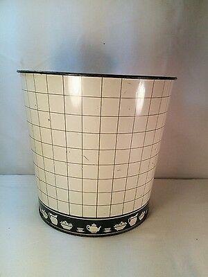 Vtg 50's Black White Metal Trash can Teapot Cup Kitchen Decor