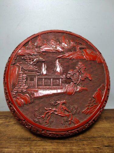 China Wood Lacquerware Fairyland Emboss Storage Jewelry Box Treasure Case Statue