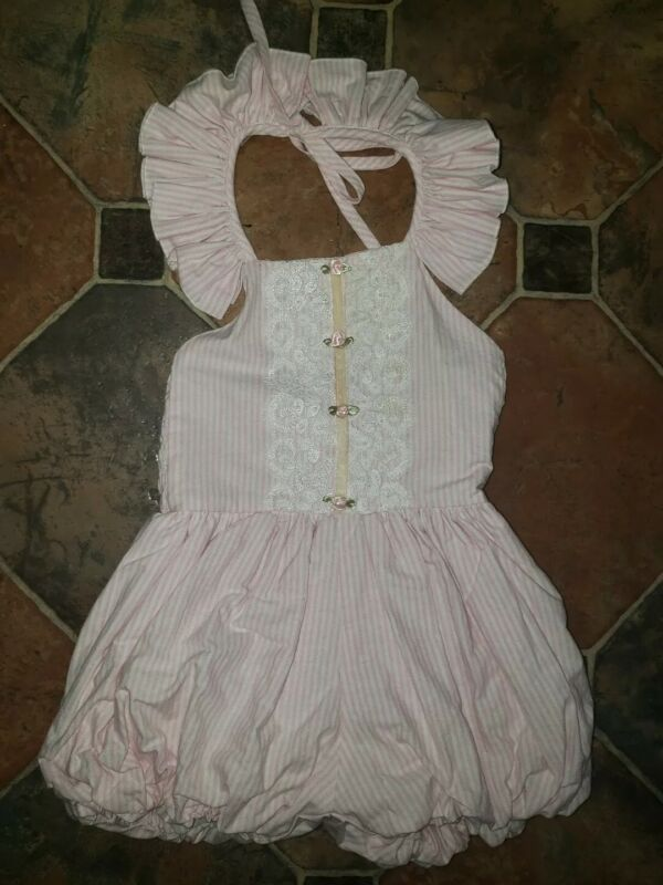 DOLLCAKE Jumpsuit Blow Out Your Candles Pink White Stripe Size 5 Ruffle Halter