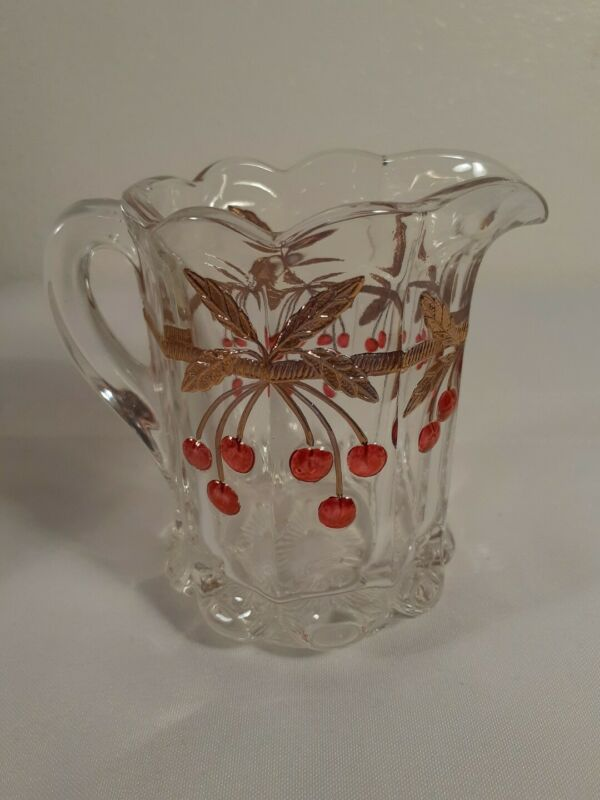 "EAPG H. Northwood Cherry Thumbprint 4"" Glass Creamer"