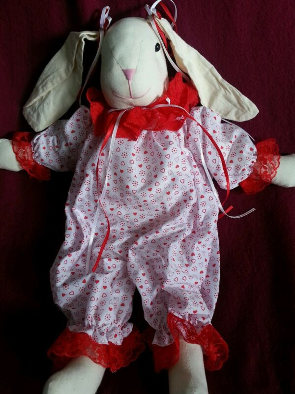 Valentine's Stuffed Rabbit in white w. red heart pajamas - Girl 16 inches tall