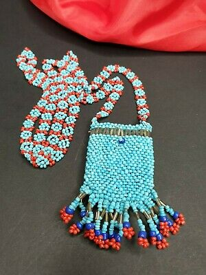 Old Beaded Tribal American Indian Style Necklace Coin Bag …beautiful accent and