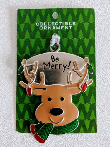 """Ganz Christmas Tree Ornament Reindeer """"Be Merry"""" String lights Scarf Antlers New"""