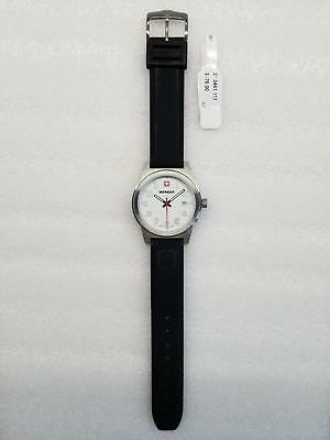 WENGER FIELD CLASSIC WHITE DIAL DATE BLACK SILICONE STRAP MENS WATCH 0441.00 (Classic Field Black Dial)