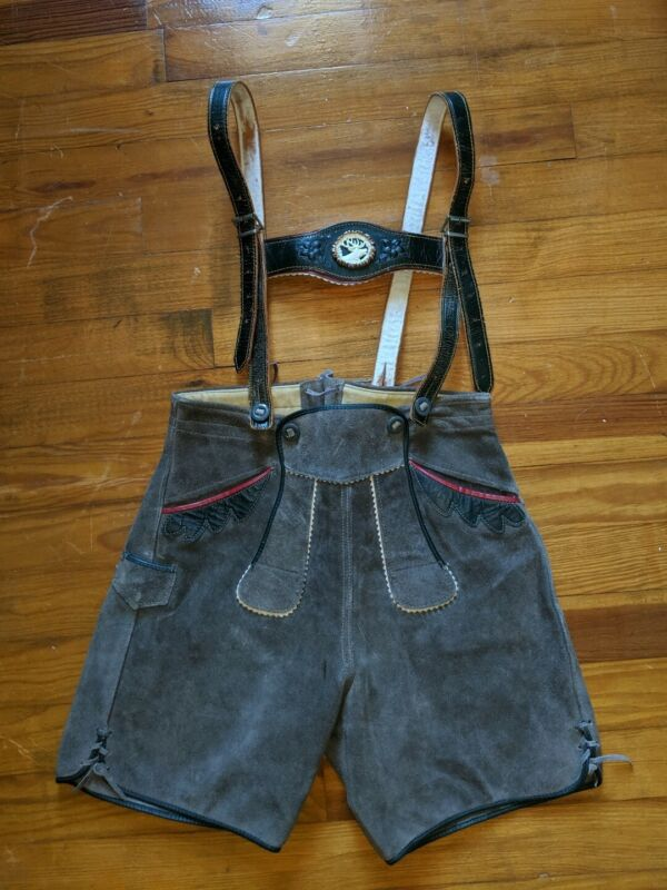 Vintage Tracht Lederhosen Youth (no size) Gray Suede Oktoberfest German Costume