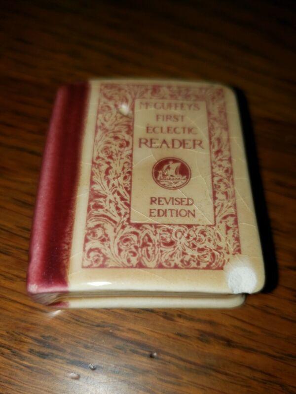 RARE Miniature McGuffeys First Eclectic Reader Ceramic Salt or Pepper Vintage!