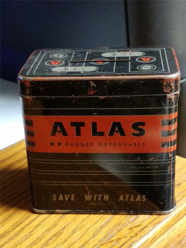 Vintage Tin Litho Atlas Batteries Bank Excellent or Better Rat Rod Gas Oil