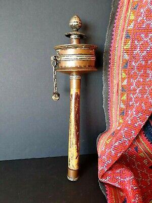 Old Tibetan Copper & Silver Prayer Wheel with Prayers Inside …beautiful original