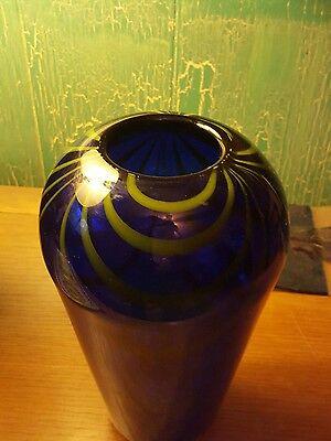 VASE Cobalt blue and Green Art Glass Vase