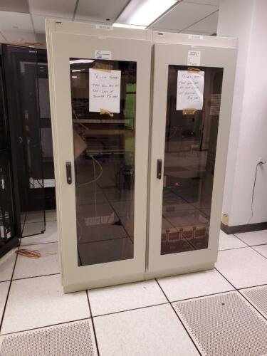 1 Left Fully Enclosed APW Server Telecom Rack Cabinets w/ Glass Fronts & Fans