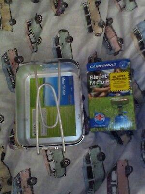 NEW Campingaz Bleuet Micro Plus camping stove plus 2 New Tesco Mess Tins Pans