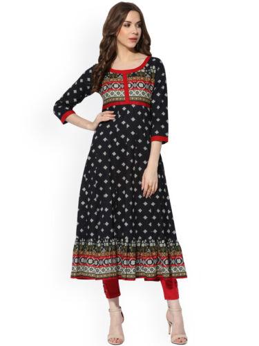 Black Printed A Line Printed Anarkali Kurta Kurti Designer Dress Women Tunic