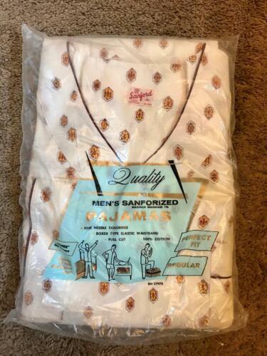 RARE New Old Stock 1950s Sanford -D- Mens Pajamas Vintage PJS Rockabilly Cotton