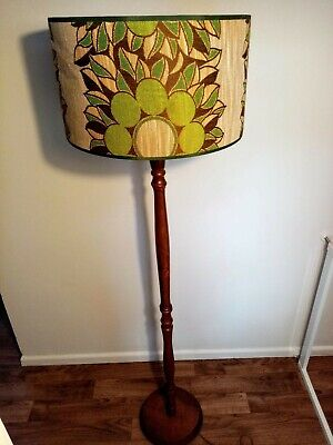 Vintage retro floor lamp, with patterned drum lampshade and solid wood stand
