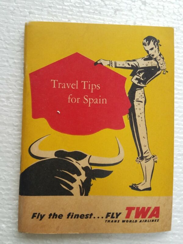 Vintage 1958 TWA Travel Tips for Spain Tourist Guide Book