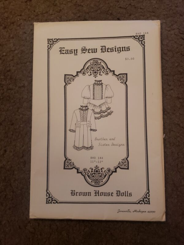 Brown House Dolls Sewing Pattern..Easy Sew Design..Brother & Sister...BHD#144