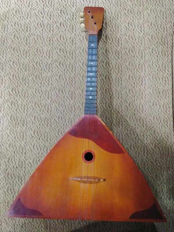 Russian Folk Art Vintage Balalaika 3 String Wooden Guitar  Beautiful