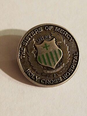 VINTAGE ENAMELED STERLING SILVER HOLY CROSS HOSPITAL pin