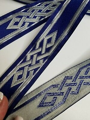 (Celtic knot royal blue & Silver fabric trim 1 1/4 inch wide by the yard)