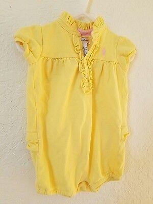 Ralph Lauren Baby Girl Yellow Spring Summer Bubble Romper Size 9 Mo w/ruffles