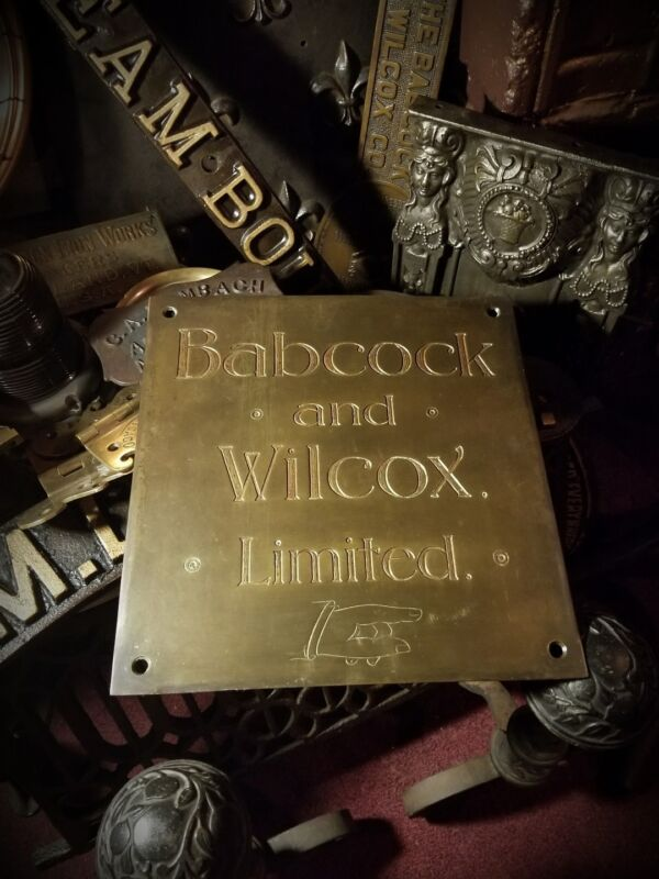 Gilded Age Steam BABCOCK WILCOX Brass Antique Plaque Sign