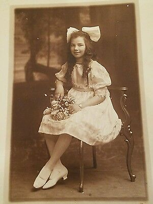 Vintage Early 1900s Young Girl Posing on Chair 5x7 Photo