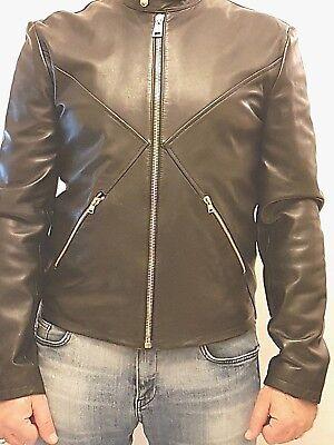 Versus Versace leather bomber jacket size EU 54 UK XXL in black bu50078 gold zip