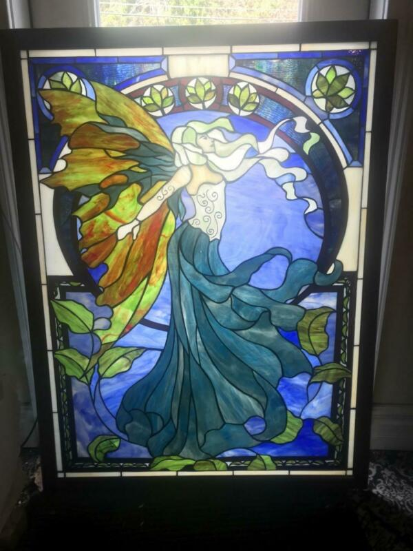 NICE ART NOUVEAU STAINED GLASS DESIGNER CUSTOM WINDOW - ARW1