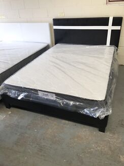 Brand new medium firm mattress with leather bed frame D$300,Q$330