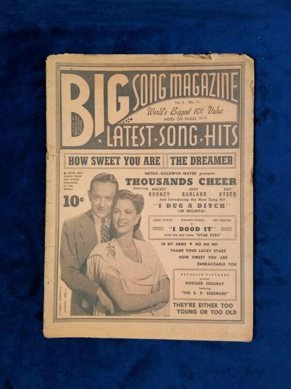 Vintage Big Song Magazine Vol. 3  No.11 Mickey Rooney Judy Garland Ephemera