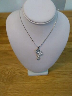 BNWT kitsch quirky silver metal sparkle flower pendant necklace and earrings