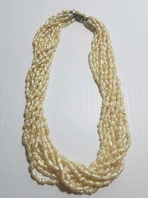 10 Strand Freshwater Rice Pearl Necklace 18 inches Choker Style