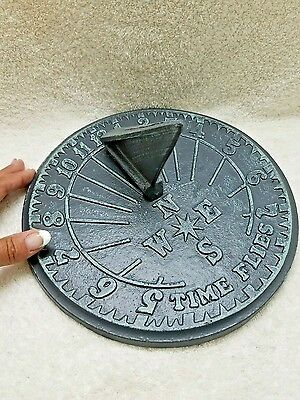 Time Flies Sundial, Cast Iron with Verdigris Finish, 10-Inch Diameter