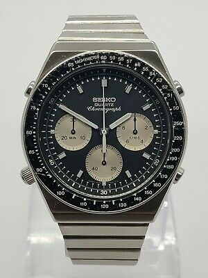 Vintage Seiko 7A28 703B 1983 'Reverse Panda' Dial Flyback Chronograph