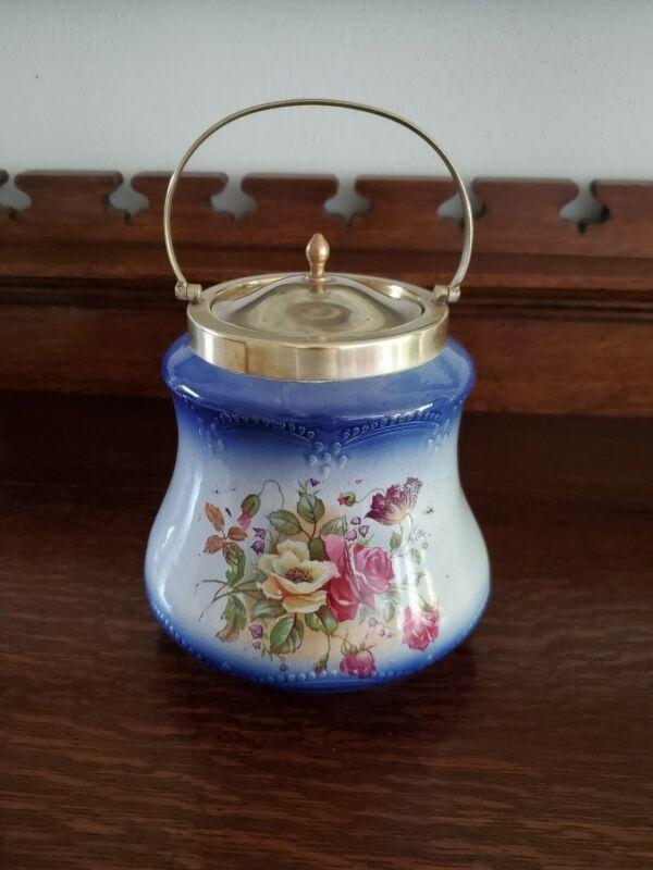Antique  Biscuit Barrel Jar Floral c 1900 England